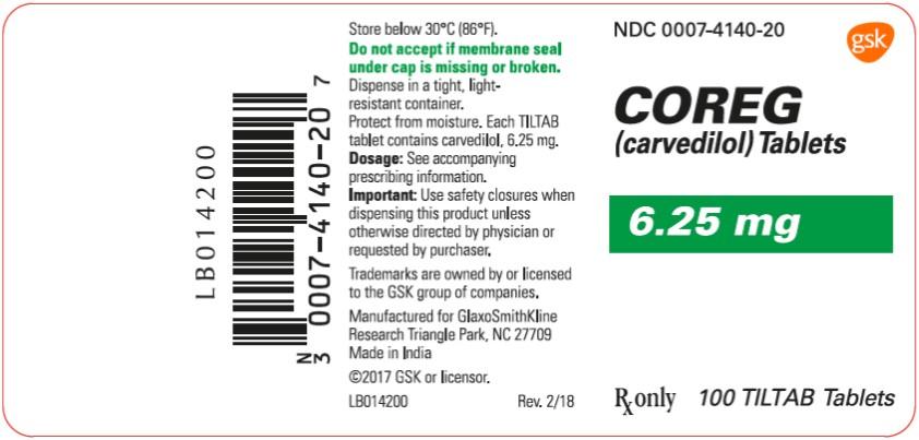 Coreg 6.25 mg 100 count label