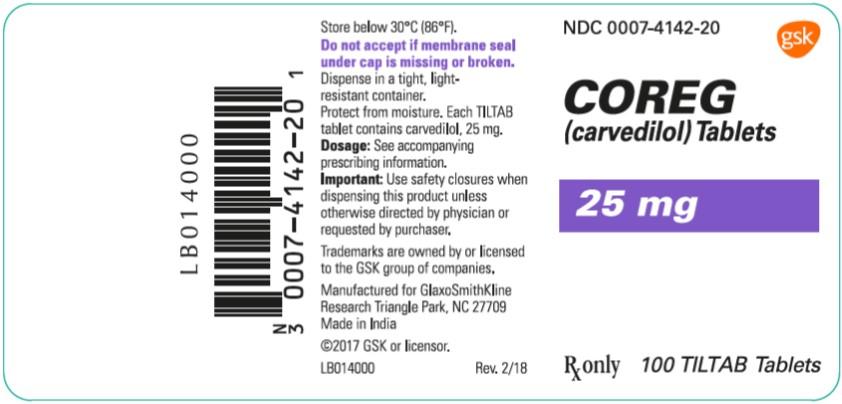 Coreg 25 mg 100 count label