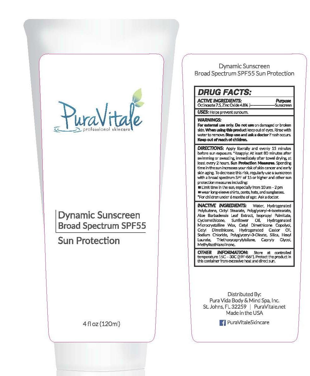 Pura Vitale Professional Skincare Dynamic Sunscreen Broad Spectrum Sun Protection SPF 55 Sun Protection 4 fl oz (120ml)