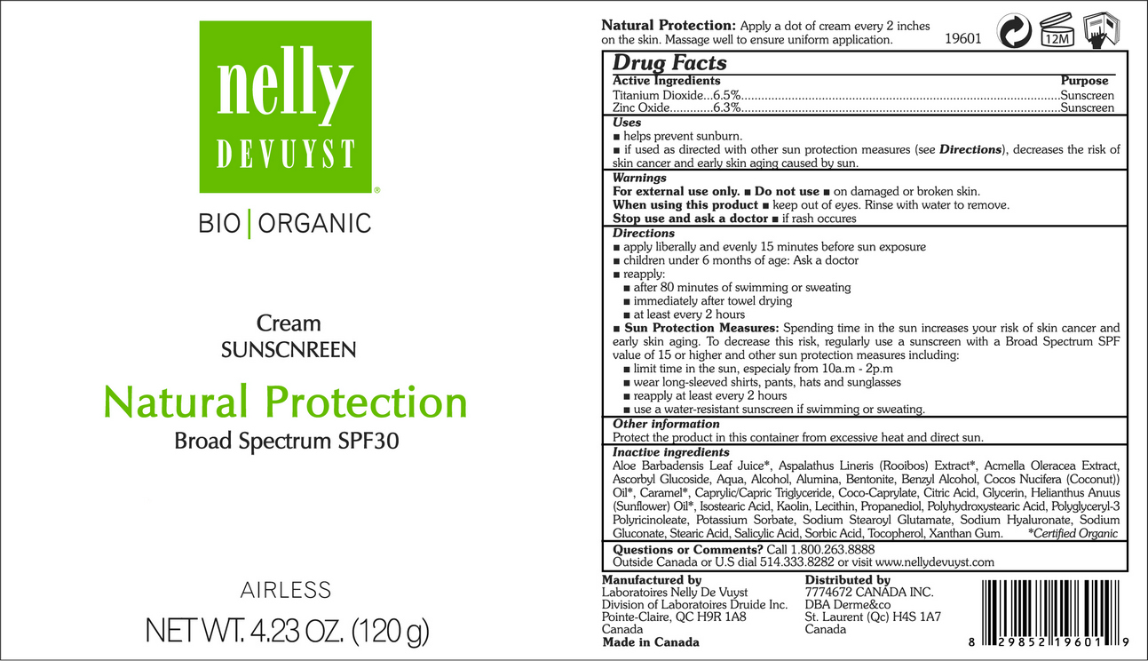 NELLY DEVUYST ORGANIC CREAM SUNSCREEN NATURAL PROTECTION BROAD SPECTRUM SPF30