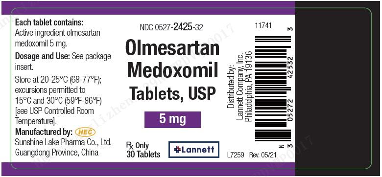 Olmesartan medoxomil Tablets - Package Label - 5 mg 30 ct Bottle Label