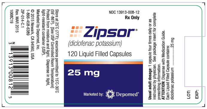 25 mg 120-count Bottle Label