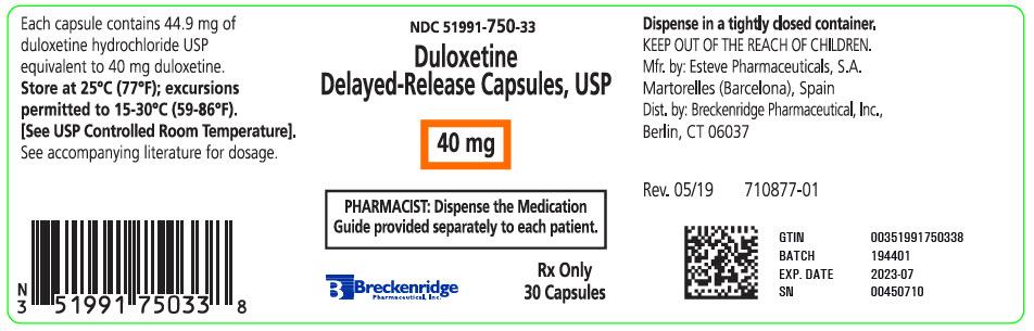 PRINCIPAL DISPLAY PANEL - 40 mg Capsule Bottle Label