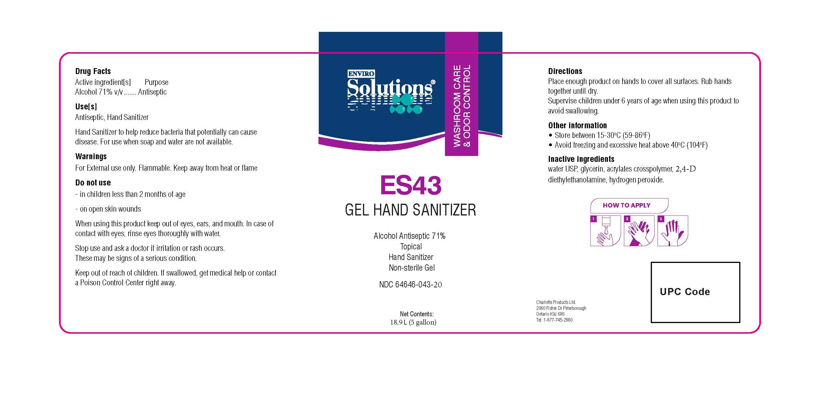 ES43 18.9 L label