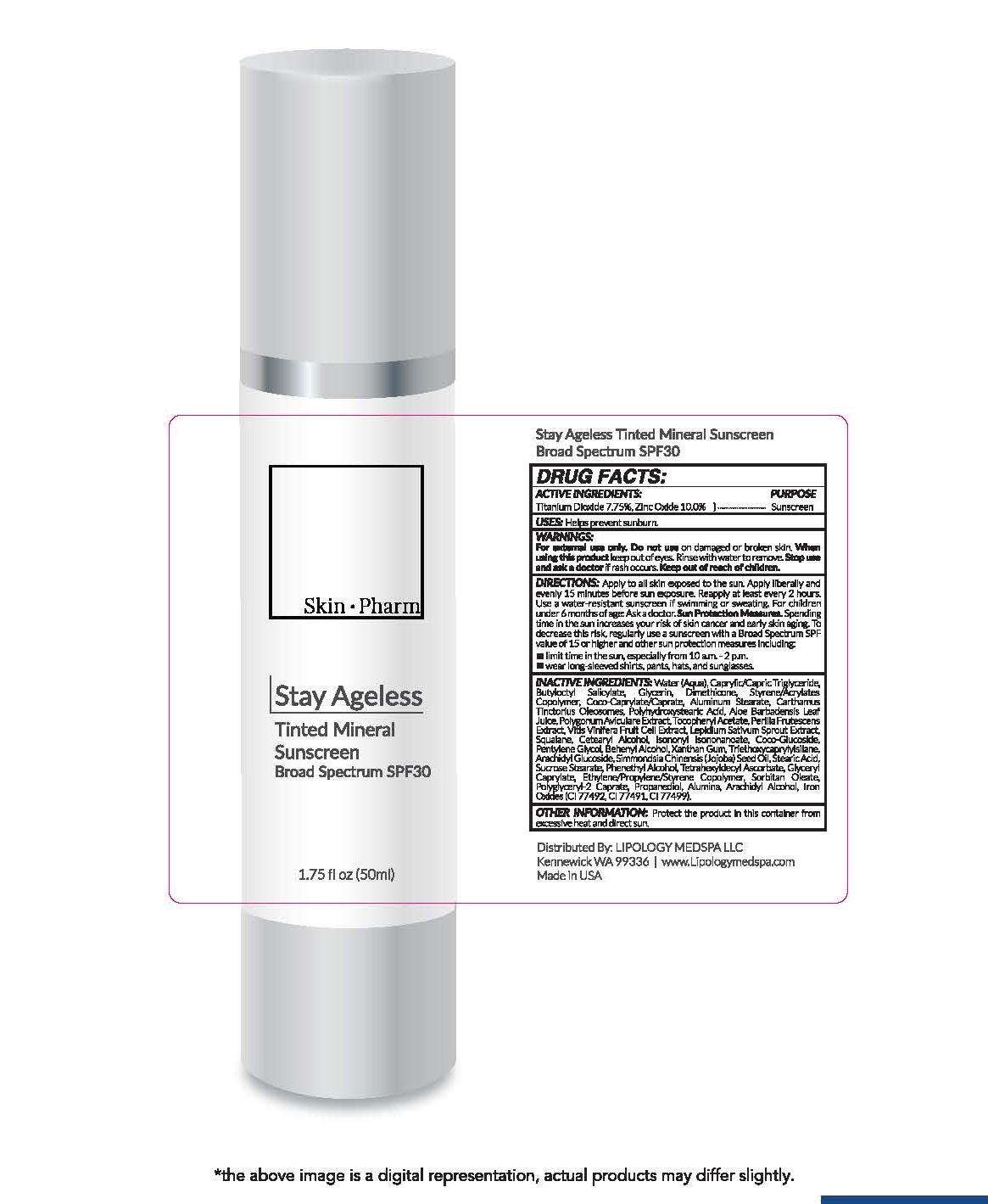 Skin Pharm Stay Ageless Tinted Mineral Sunscreen Broad Spectrum SPF 30 1.75 fl oz (50ml)