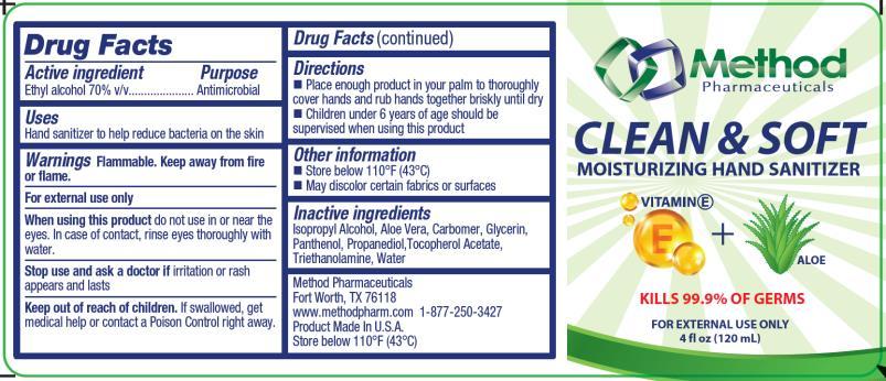 PRINCIPAL DISPLAY PANEL Clean & Soft  Moisturizing Hand Sanitizer Kills 99.9% of Germs 4 fl oz (120 mL)