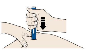 Keep pushing the autoinjector down on your skin. Then lift your thumb while still holding the autoinjector on your skin. Your injection could take about 15 seconds.