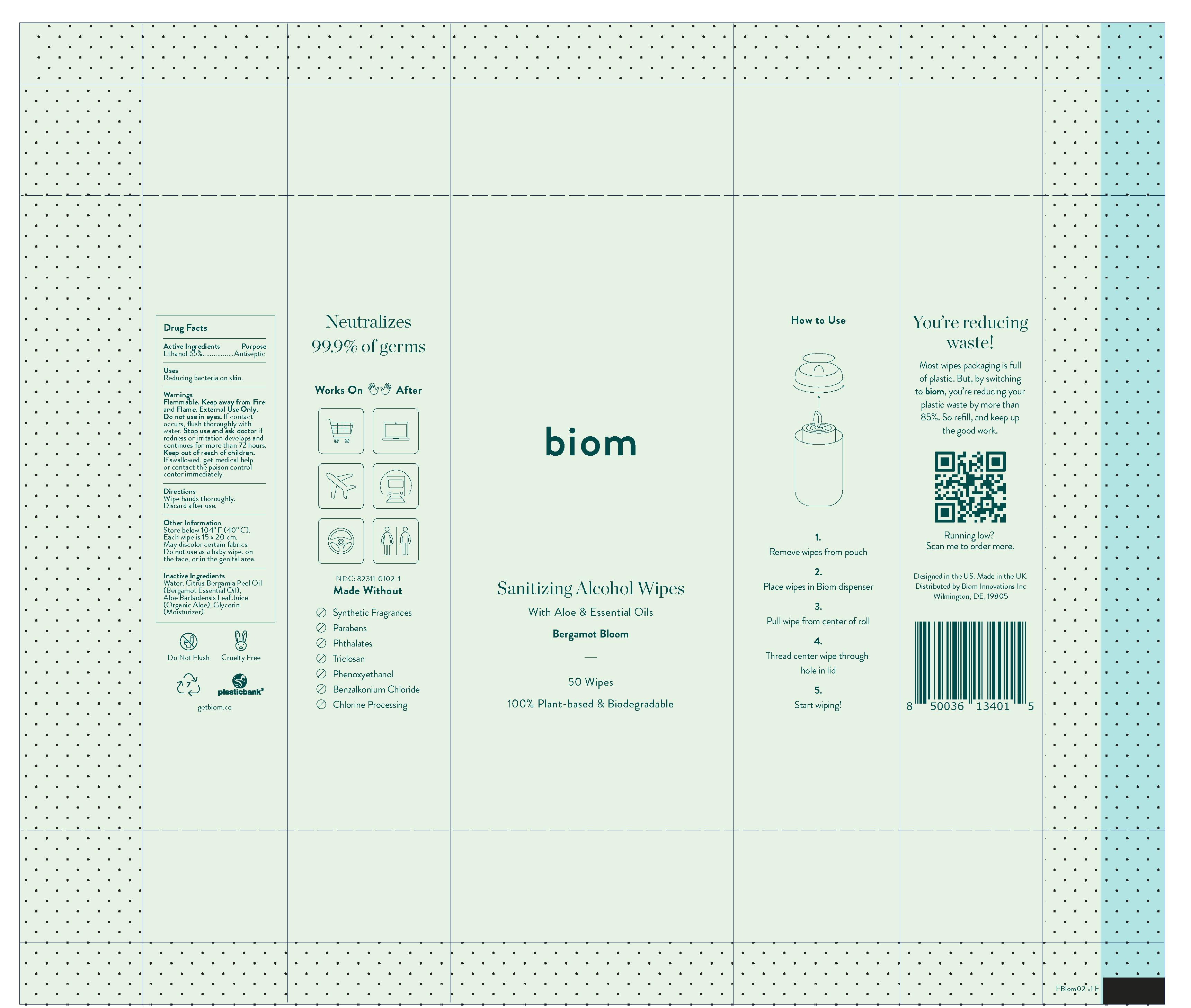 BIOM02 Bergamot Bloom - sanitising alcohol wipes