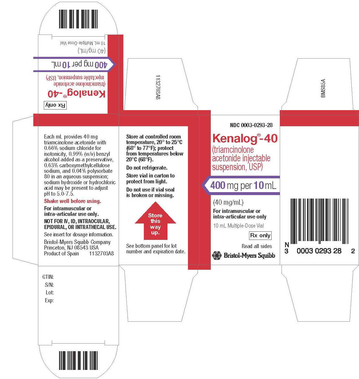 Image Kenalog-40  10 mL vial Label