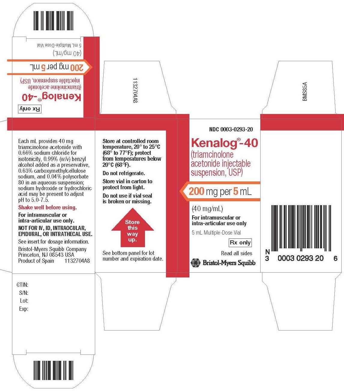 Image Kenalog-40  5 mL vial Label