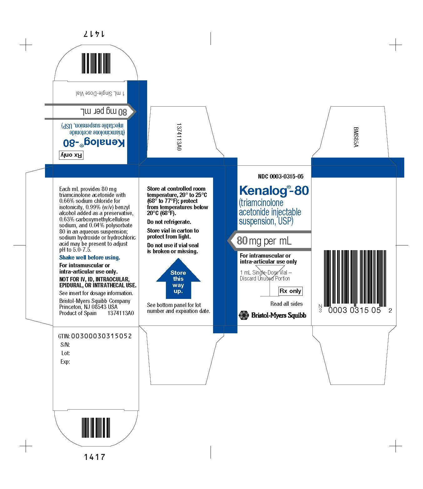 Image Kenalog-80  1 mL Carton Label