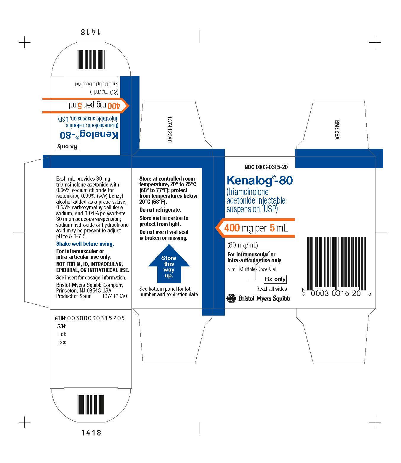 Image Kenalog-80  5 mL Carton Label
