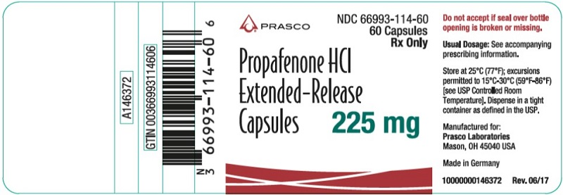 Propafenone HCl ER 225mg 60 count label
