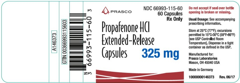 Propafenone HCl ER 325mg 60 count label