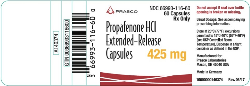 Propafenone HCl ER 425mg 60 count label