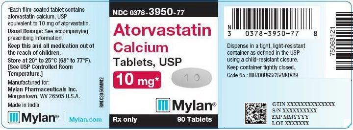 Atorvastatin Calcium Tablets 10 mg Bottle Label