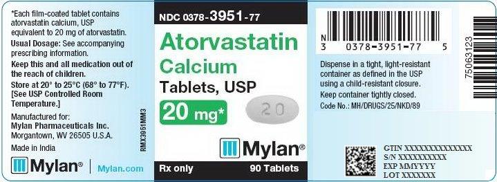 Atorvastatin Calcium Tablets 20 mg Bottle Label