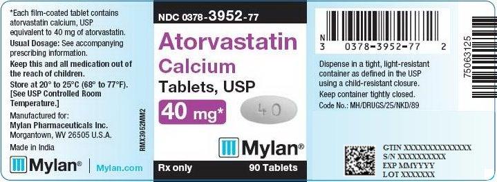 Atorvastatin Calcium Tablets 40 mg Bottle Label
