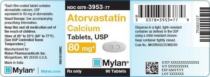 Atorvastatin Calcium Tablets 80 mg Bottle Label