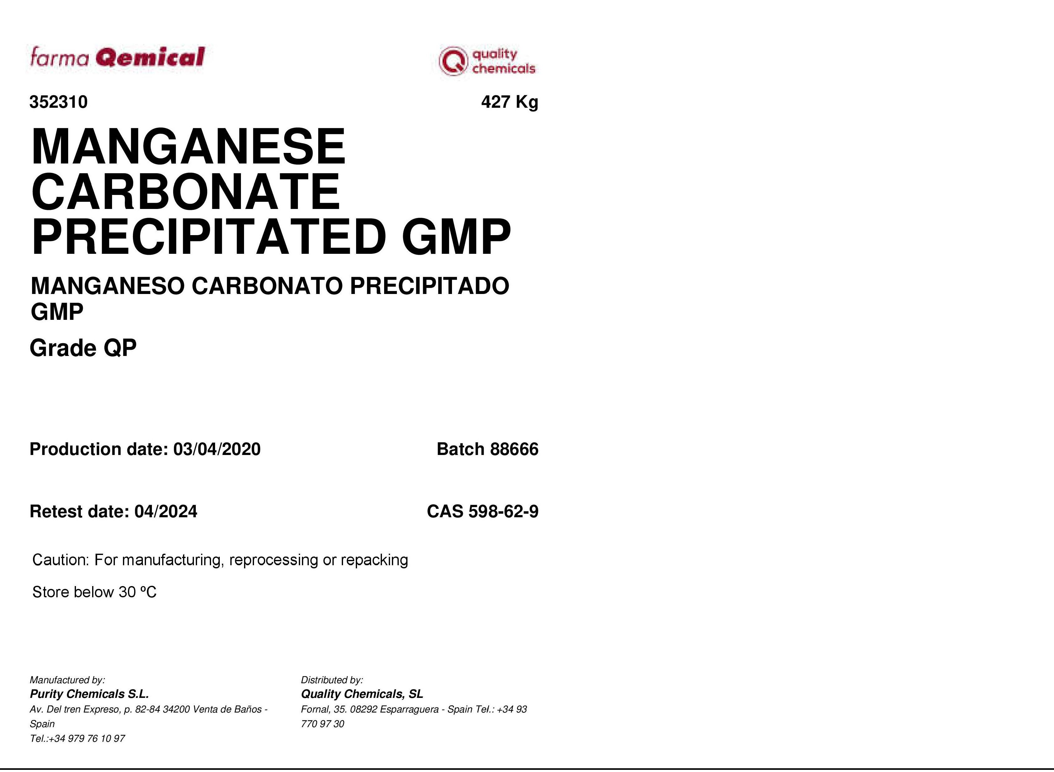 Label Manganese Carbonate