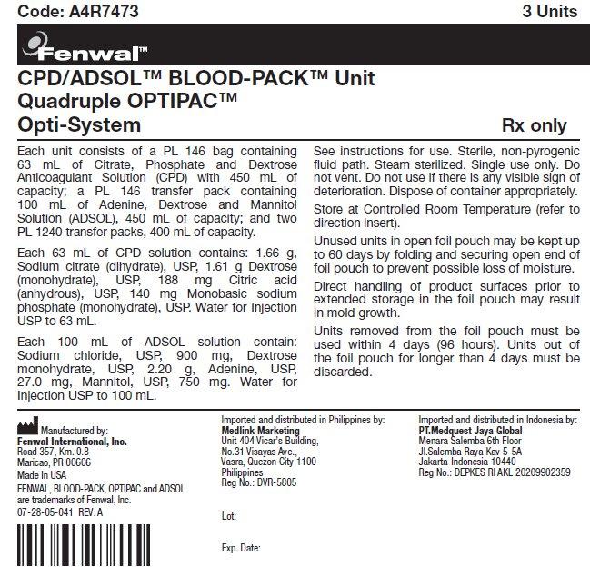CPD/ADSOL™ BLOOD-PACK™ Unit Quadruple OPTIPAC™ Opti-System label