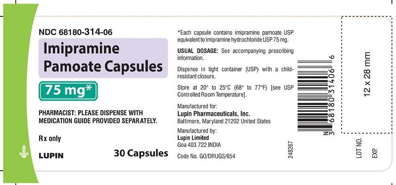 Imipramine Pamoate Capsules 75 mg - Bottle of 30s NDC: <a href=/NDC/68180-314-06>68180-314-06</a>       bottles of 30