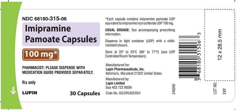 Imipramine Pamoate Capsules 100 mg - Bottle of 30s NDC: <a href=/NDC/68180-315-06>68180-315-06</a>        bottles of 30