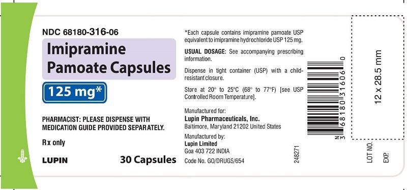 Imipramine Pamoate Capsules 125 mg - Bottle of 30s NDC: <a href=/NDC/68180-316-06>68180-316-06</a>       bottles of 30