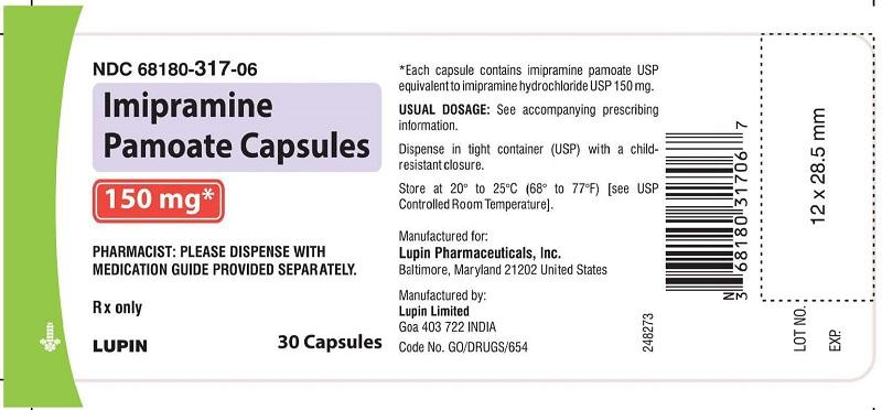 Imipramine Pamoate Capsules 150 mg - Bottle of 30s NDC: <a href=/NDC/68180-317-06>68180-317-06</a>       bottles of 30