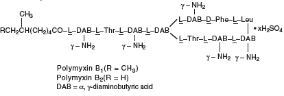 Polymyxin B Sulfate, the sulfate salt of polymyxin Bl and B2 (Structural formula)