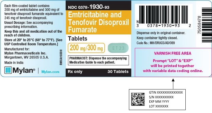 Emtricitabine and Tenofovir Disoproxil Fumarate Tablets 200 mg/300 mg Bottle Label