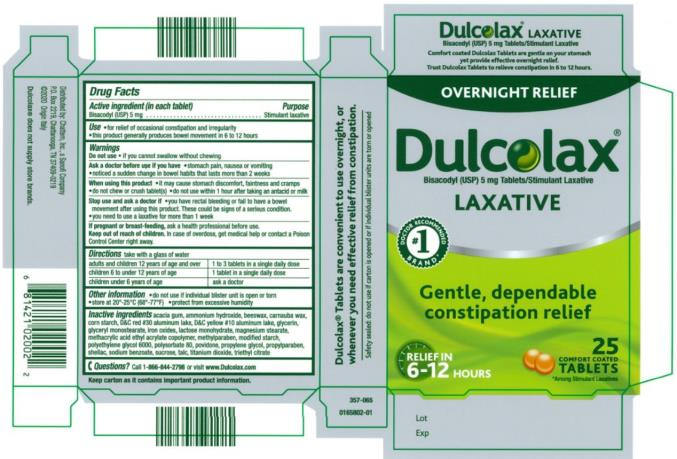 PRINCIPAL DISPLAY PANEL OVERNIGHT RELIEF Dulcolax LAXATIVE 25 comfort coated Tablets