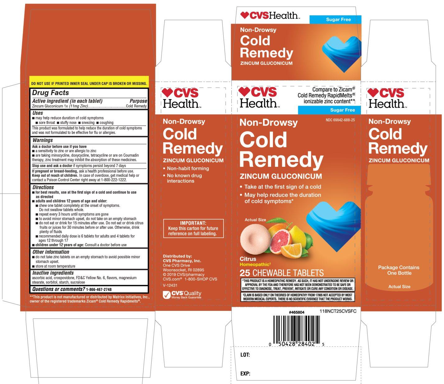 CVS Health Cold Remedy Zincum Gluconicum Citrus Flavor