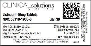 Lisinopril 10mg tablet 30 count blister card