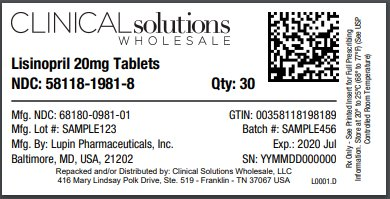 Lisinopril 20mg tablet 30 count blister card