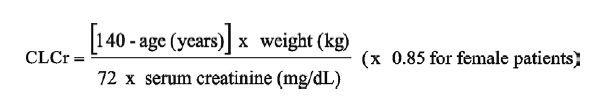 Cockcroft and Gault Equation