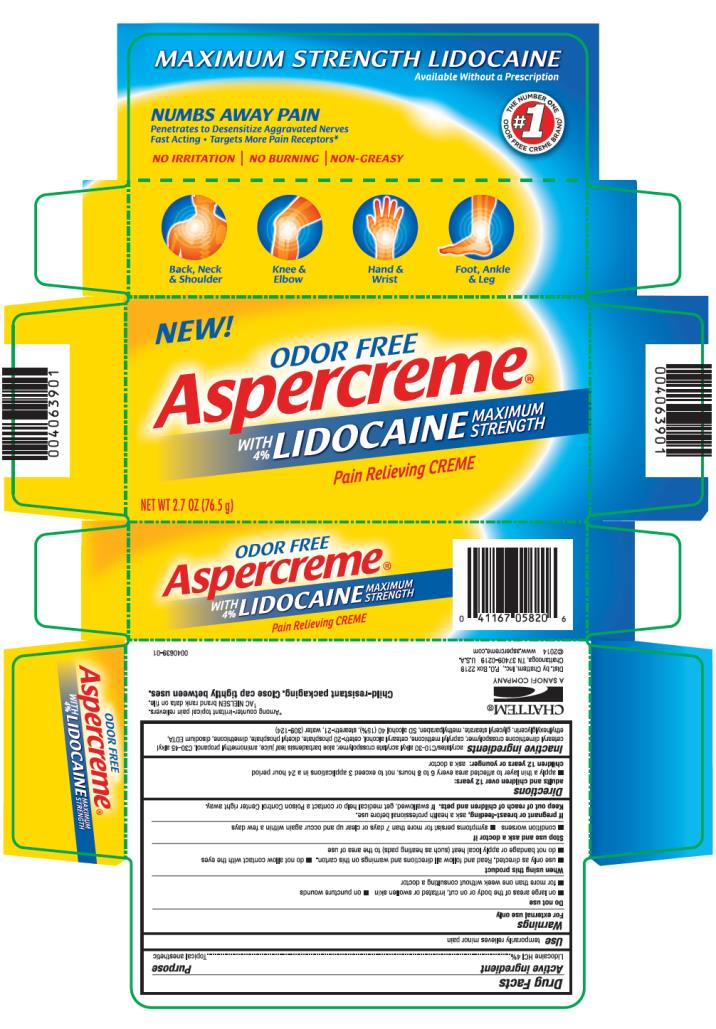ODOR FREE Aspercreme WITH 4% LIDOCAINE MAXIMUM STRENGTH Pain Relieving Crème Net wt 2.7 oz (76.5 g)