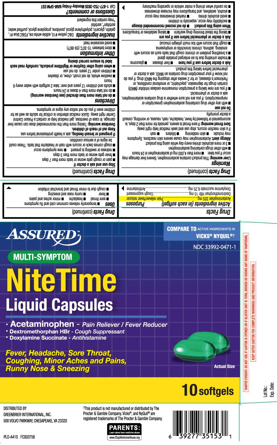Acetaminophen 325 mg, Dextromethorphan HBr 15 mg, Doxylamine Succinate 6.25 mg