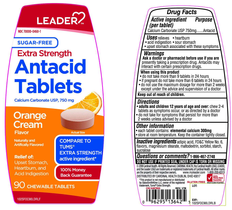 Leader Extra Strength Sugar Free Antacid Tablets Orange Cream Flavor