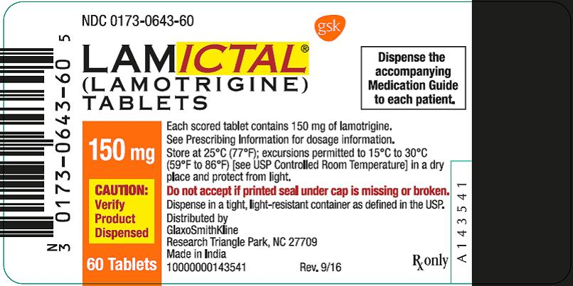 Lamctal 150 mg 60 count label
