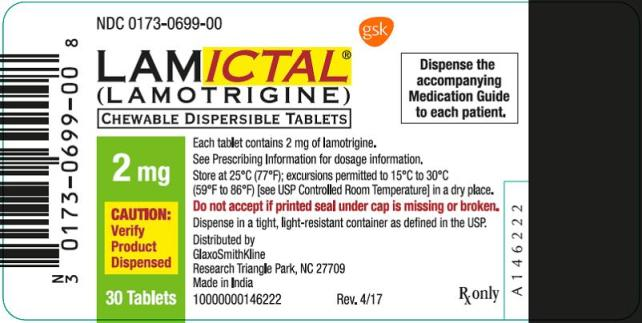 Lamictal CD 2mg 30 count label