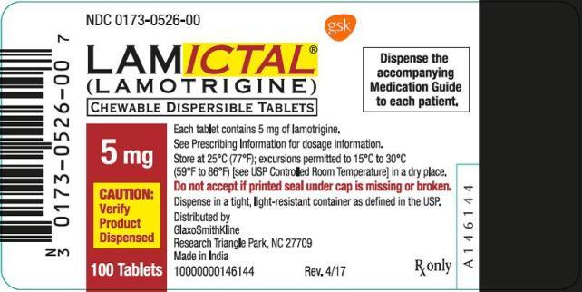 Lamictal 5mg Tablet Oral Suspension label