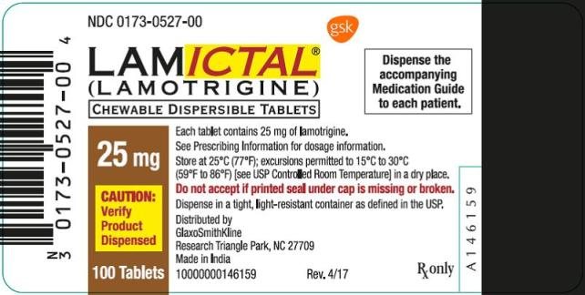 Lamictal CD 25mg 100 count label