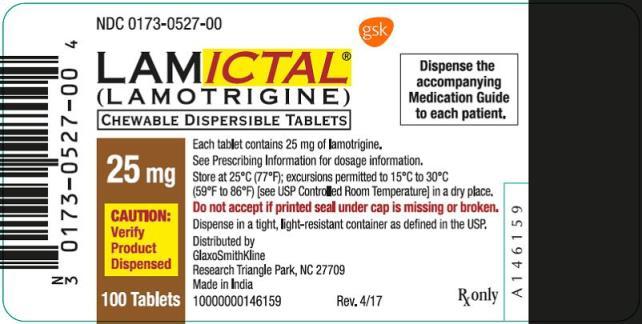 Lamictal 25mg Tablet Oral Suspsension label