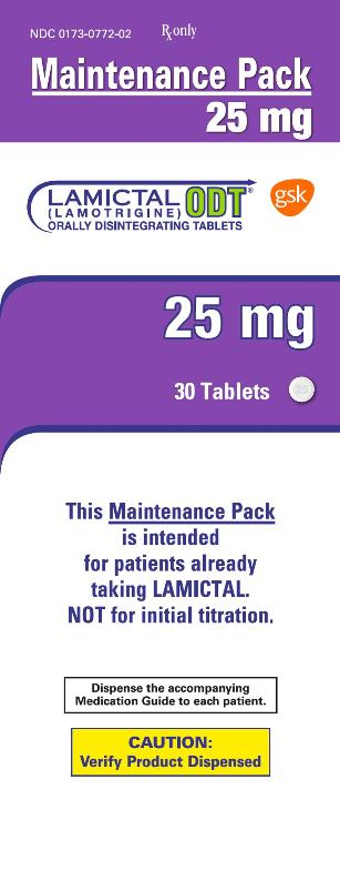 Lamictal ODT 25mg 30 count maintenance pack carton