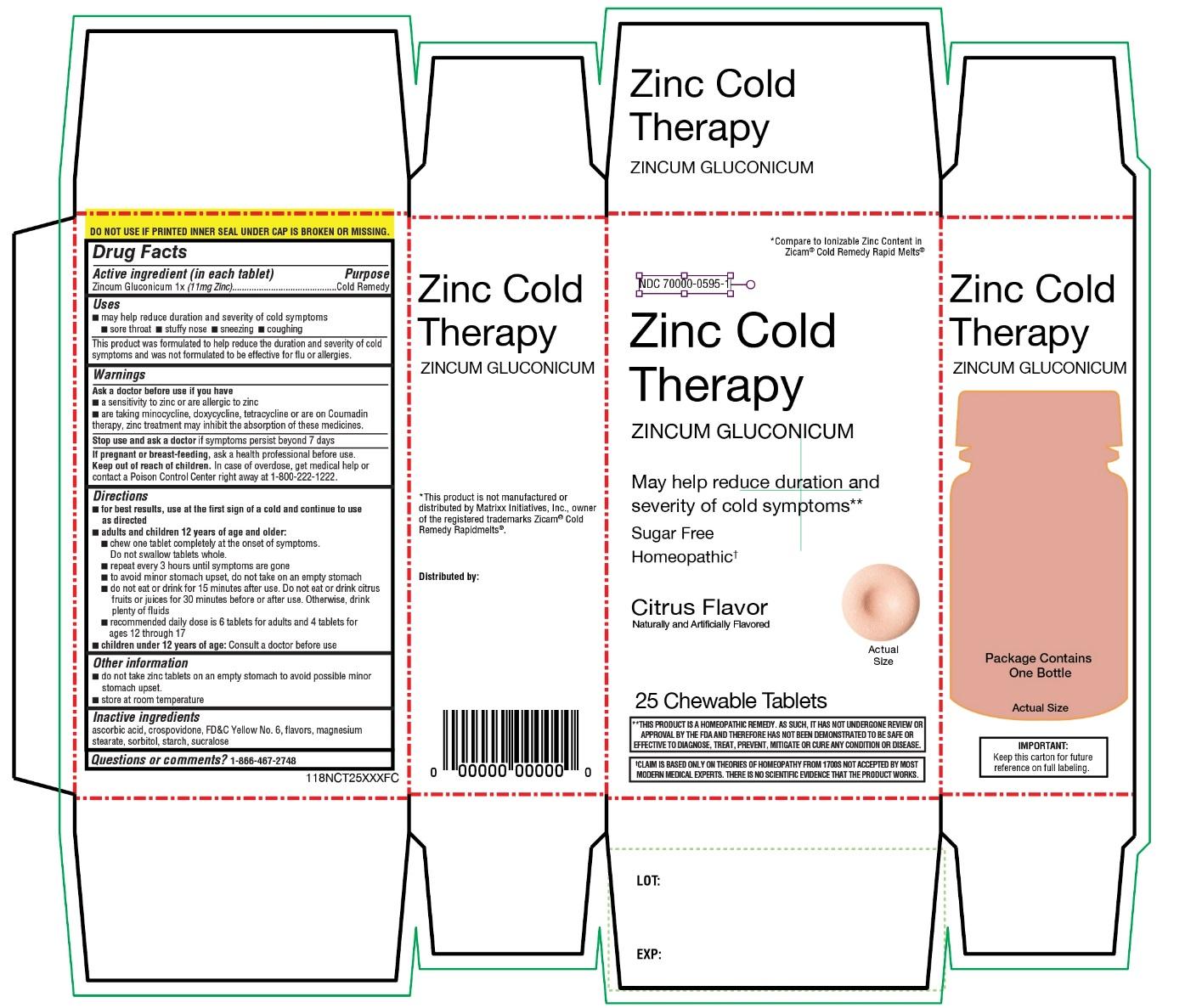 Leader zinc cold therapy Zincum Gluconicum citrus flavor