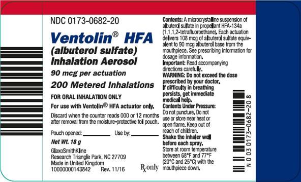 Ventolin HFA 200 dose label