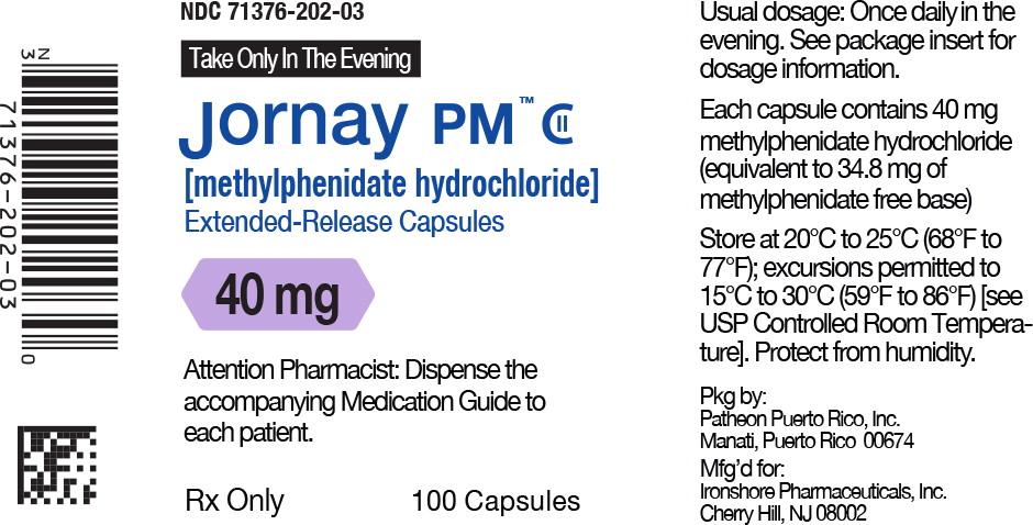 Principal Display Panel - Jornay PM™ 40 mg Bottle Label