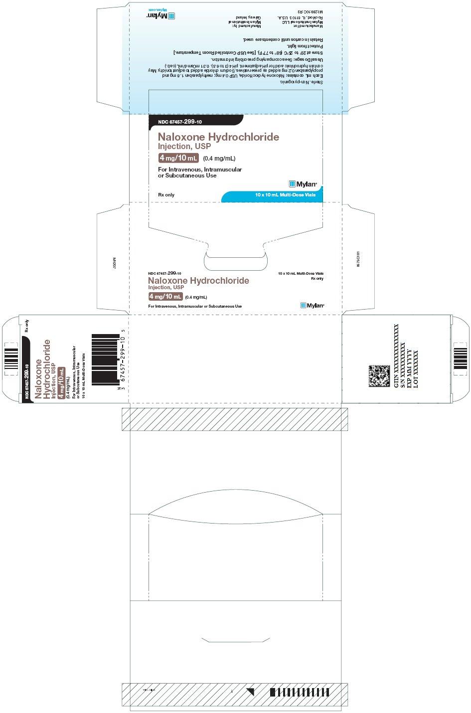 Naloxone Hydrochloride Injection 4 mg/10 mL Carton Label