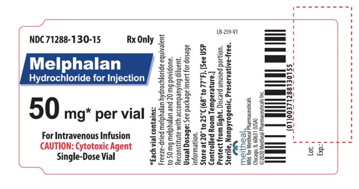Principal Display Panel – Melphalan Hydrochloride for Injection 50 mg Vial Label